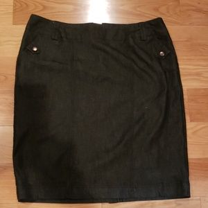 Black denim knee length skirt dress barn size 16